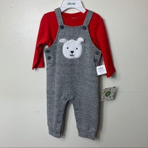 LITTLE ME 2PC OVERALL SET 6 MO